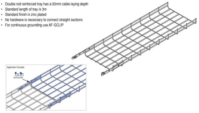 Acrofil - Double Rod Reinforced Cable Tray AF50 (50mm Depth), 3M